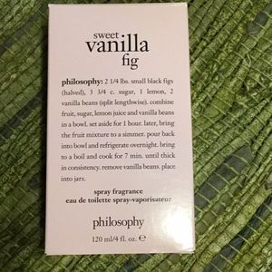 Philosophy sweet vanilla fig spray.